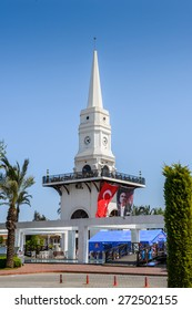 KEMER, TURKEY - APR 16, 2015: Central clock tower in Kemer, Turkey. Kemer a seaside resort on the Mediterranean coast of Turkey, Antalya Province