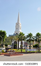 KEMER, TURKEY - JUNE 24,2011: the clock Tower in the main square of the city