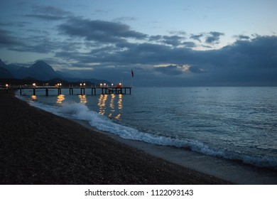 KEMER, TURKEY - MAY 8 2017: Early morning in Kemer resort town in Turkey. Beach at sunrise