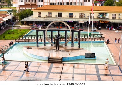 KEMER, TURKEY - OCT, 2018: Central square in of Kemer, Turkey, view from the top. Fountains and tourists walking, famous place, urban landscape.