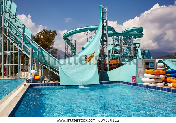 Kemer, Turkey - September 20, 2015. view of aquapark slides. water amusement park Dolusu