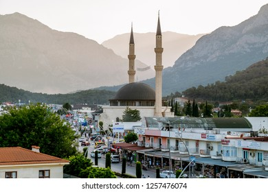 Kemer. Turkey.9 June 2018.Mosque in Kemer in Turkey at sunset.