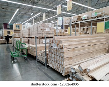 KEMEROVO, RUSSIA – DECEMBER 10, 2018. Lots of various lumber in a large building materials supermarket Leroy Merlin
