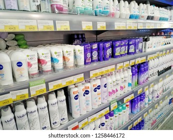 KEMEROVO, RUSSIA, DECEMBER 10, 2018. Deodorants and antiperspirants are sold on shelves in a supermarket Lenta