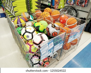 KEMEROVO, RUSSIA, DECEMBER 12, 2018. Large choice of various balls for different games in a sports supermarket Sportmaster