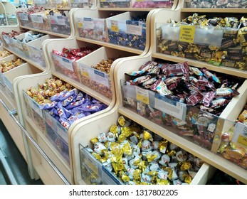KEMEROVO, RUSSIA, FEBRUARY 14, 2019. Big assortment of various candies are sold in a hypermarket Lenta