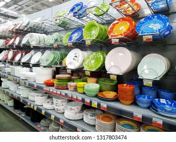 KEMEROVO, RUSSIA, FEBRUARY 14, 2019. Big choice of various plates and bowls are sold in a hypermarket Lenta