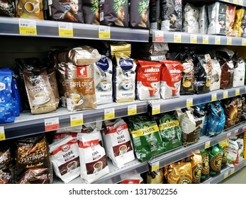 KEMEROVO, RUSSIA, FEBRUARY 18, 2019. Big assortment of various sorts of coffee on the shelves are sold in a hypermarket Lenta