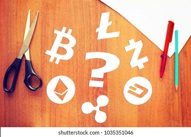 KEMEROVO RUSSIA  FEBRUARY 25 2018. Different crypto-currencies. Which cryptocurrency is better to choose