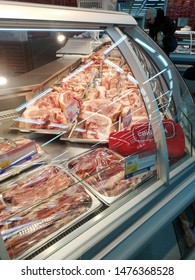 KEMEROVO, RUSSIA, FEBRUARY 25, 2019. Shelves with much fresh pork meat in the Lenta supermarket