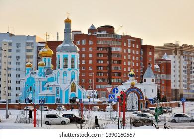 "Kemerovo, Russia- November  29, 2014: Orthodox Church of the icon of our lady ""Assuage my sorrows"", Kemerovo,  Kemerovo region, Russia"