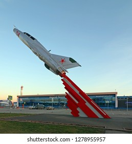 Kemerovo, Russia - October 26, 2018: Kemerovo aiport and fighter MIG-21