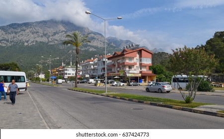 KEMER/TURKEY - MAY 8 2017: Kemer - seaside resort town in Turkey. Streets and buildings. Turkish Riviera. Mediterranean coast. Antalya Province
