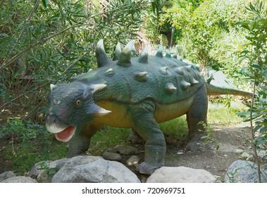Kemer;Turkey- September 06; 2017: Ankylosaurus -Cretaceous /65 million years ago. In the Dinopark