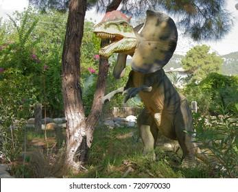 Kemer;Turkey- September 06; 2017: Dilophosaurus- Early Jurassic/ 200-190 million years ago. In the Dinopark