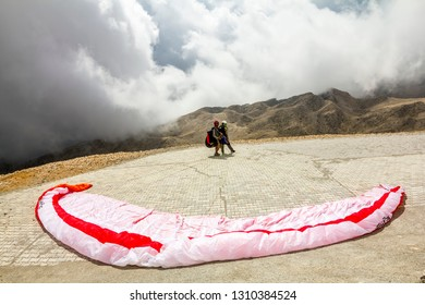 Kemer.Turkey.24 august 2013. Paragliders are preparing to fly from Mount Tahtali, Turkey