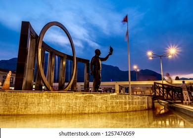 Kemer.Turkey.4 june 2018.Monument to Ataturk in square in the center of Kemer at sunset.