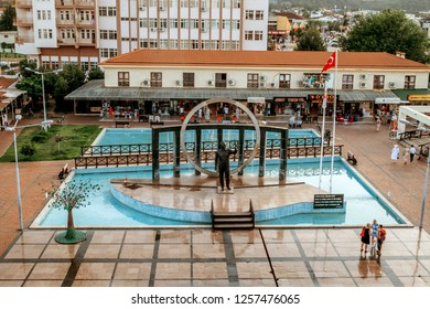 Kemer.Turkey.9 june 2018.Monument to Ataturk in square in the center of Kemer at sunset.