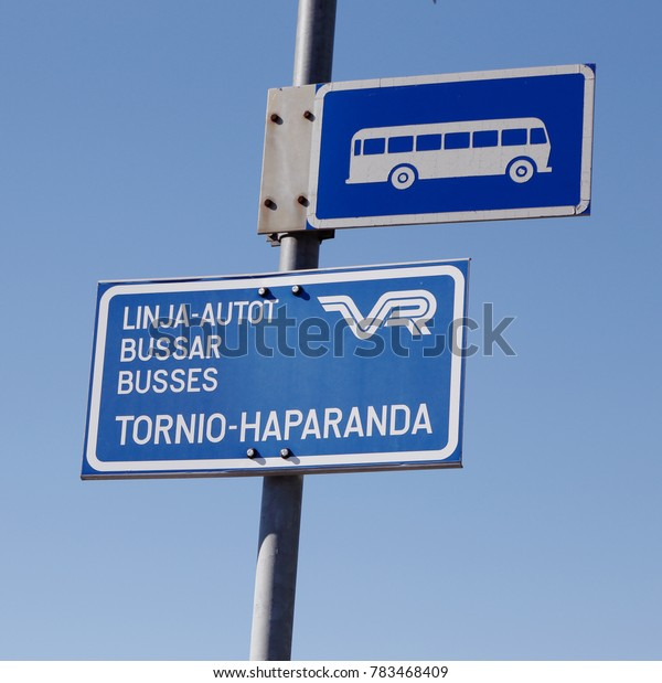 Kemi, Finland - July 20, 2016: Bus stop at Kemi railroad station for busses with the destination cities of  Tornio and Haparanda operated by VR.
