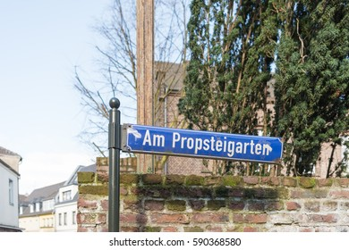 KEMPEN, GERMANY - FEBRUARY 24, 2017: Street sign of historic Kapuzinergasse in downtown