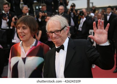 Ken Loach, British producer Rebecca O'Brien  attend the Closing Ceremony of the 69th annual Cannes Film Festival at the Palais des Festivals on May 22, 2016 in Cannes, France.