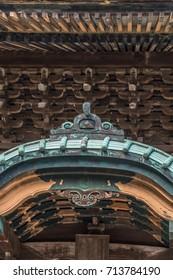 Kencho-ji Gegyo and oni-ita gable of Butsuden Hall. Japan's Important Cultural Property holds an image of Jizo Bosatsu and Sentai Jizo. Kamakura, Kanagawa Prefecture, Japan