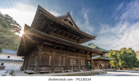 Kencho-ji temple, Butsuden Hall and Hatto (lecture hall) or Dharma Hall. Blue sky with scattered clouds. Kamakura, Kanagawa Prefecture, Japan