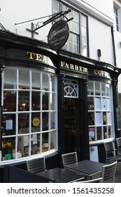 Kendal, Cumbria, UK - 30 October 2019: Farrer's Tea and Coffee House on Stricklandgate.  Farrers have been tea and coffee merchants since 1819