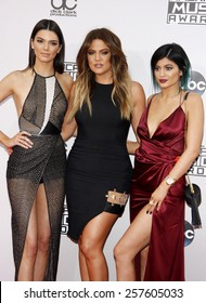 Kendall Jenner, Khloe Kardashian and Kylie Jenner at the 2014 American Music Awards held at the Nokia Theatre L.A. Live in Los Angeles on November 23, 2014 in Los Angeles, California.