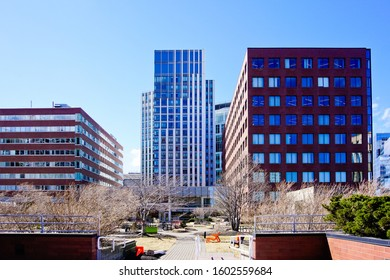 Kendall square roof garden with the background of skyscraper Cambridge Massachusetts usa