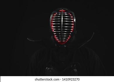 Kendo fighter Portrait Close up. Tradition kendo armor.