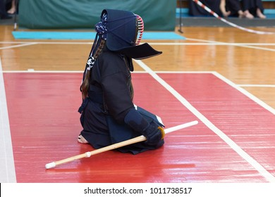 Kendo Japanese fencing, the girl in the form