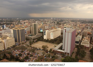 KENIA, NAIROBI - 29 July 2018: View from the roof of the Kenyatta International Convention Centre towards the Central Business District
