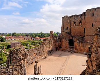 KENILWORTH, AUGUST 06: Kenilworth Castle, UK 2018. The Clinton's 12th-century great keep and Elizabethan knot gardens.