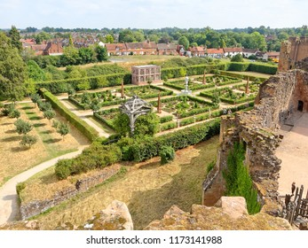 KENILWORTH, AUGUST 06: Kenilworth Castle, UK 2018. View from the tower to the Elizabethan Garden.