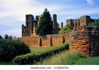 Kenilworth Castle, Warwickshire, Engliah Midlands, England UK. 06/21/2018. Tourist heritage site of ruined Elizabethan Monument.