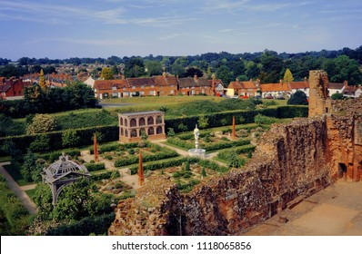 Kenilworth Castle, Warwickshire, Engliah Midlands, England UK. 06/21/2018. Tourist heritage site of ruined Elizabethan Monument. This is the medieval garden.