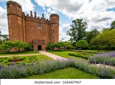 Kenilworth/England -June 4th 2019  the small courtyard Elizabethan Gardens of  Kenilworth Castle