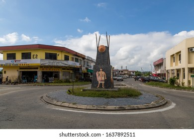 Keningau, Sabah, Malaysia - 6 July 2017: The Murut Roundabout in Keningau, depicting local indigenious people and traditions