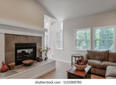 Kenmore, WA / USA - Aug. 7, 2018: Modern living room interior