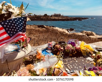 Kennebunkport, Maine, USA: April 24, 2018; a memorial tribute to Barbra Bush sit on a cliff overlooking Walker's Point in Maine.  Walkers point is the summer home of the Bush family.