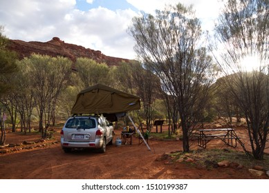 Kennedy Range National Park, Australia - 07 05 2019: Hyundai Santa Fe with roof top tent parking in the Dales Gorge campground