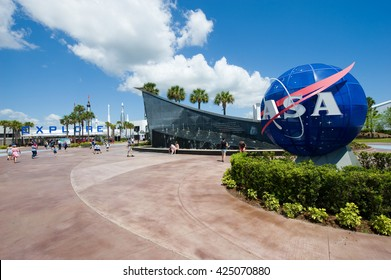 KENNEDY SPACE CENTER, FLORIDA, USA - APRIL 27, 2016: The entrance of the visitor complex of Kennedy Space Center near Cape Canaveral in Florida