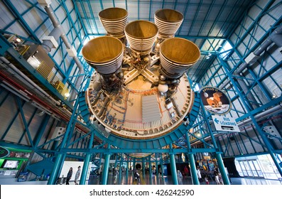 KENNEDY SPACE CENTER, FLORIDA, USA - APRIL 27, 2016: The engines of the second stage of the Saturn 5 rocket which is exhibited at the visitor complex of Kennedy Space Center