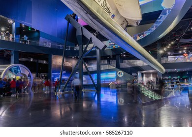 KENNEDY SPACE CENTER, FLORIDA, USA - SEBRUARY 19, 2017: Space Shuttle Atlantis at the visitor complex of Kennedy Space Center, Apollo Saturn V Center