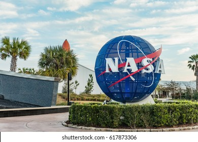 KENNEDY SPACE CENTER, FLORIDA, USA - FEBRUARY 18, 2017: NASA logo on mock Globe on input to NASA Kennedy Space Center, Apollo Saturn V Center at Kennedy Space Center, Orlando, Florida.
