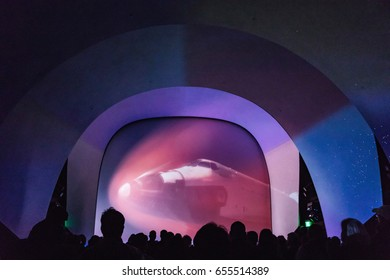 KENNEDY SPACE CENTER, FLORIDA, USA - SEBRUARY 19, 2017: Preliminary projections at the entrance to Kennedy Space Center. Space Shuttle Atlantis at the visitor complex of Kennedy Space Center,
