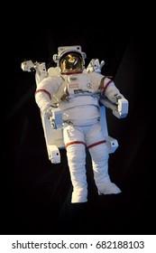 KENNEDY SPACE CENTER, FLORIDA, USA - MAY 20, 2017: Astronaut spacesuit hanging at Kennedy Space Center, Orlando, Florida.