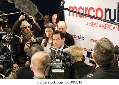 KENNESAW, GA - Feb 27, 2016: Republican presidential candidate Marco Rubio addresses questions from the press in the locker room at Mount Paran Christian School stadium before a Georgia rally