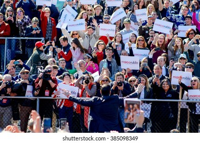 KENNESAW, GA - Feb 27, 2016: Republican presidential candidate Marco Rubio's largest crowd to date show their excitement in support at the conclusion of a rally in Georgia before Super Tuesday